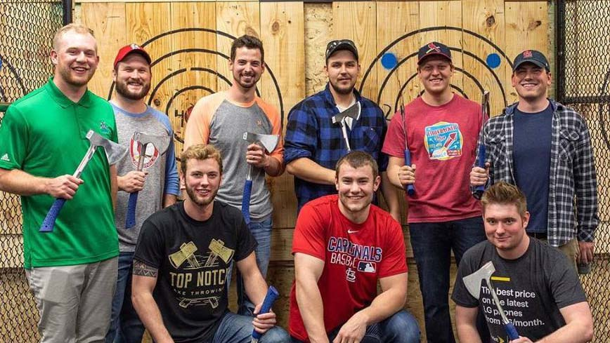 Team building at Top Notch Axe Throwing St. Louis