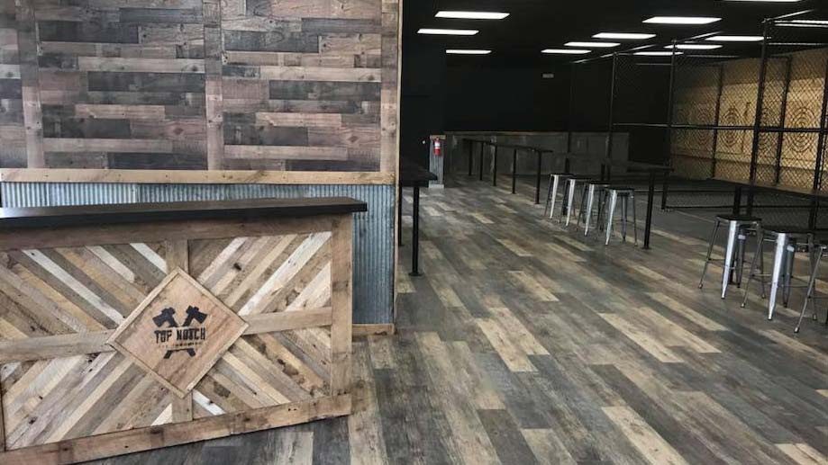 Interior of Top Notch Axe Throwing in downtown St. Louis
